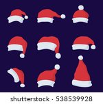 set of santa claus red hat in... | Shutterstock .eps vector #538539928