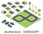 set isometric road and vector... | Shutterstock .eps vector #538543399