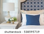 Stock photo luxury bedroom in blue color tone interior design 538595719