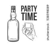 whiskey bottle and hand holding ... | Shutterstock .eps vector #538598089