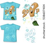 funny  shirt with a bottle of...   Shutterstock .eps vector #538607404