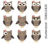 Set Of Cute Cartoon Owls With...