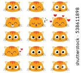 cute cartoon cats with... | Shutterstock .eps vector #538611898
