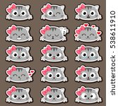 set of cute cartoon cats with... | Shutterstock .eps vector #538611910