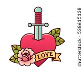 traditional heart and dagger... | Shutterstock .eps vector #538615138