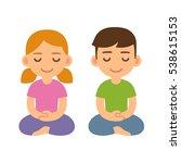 cartoon meditating children ... | Shutterstock .eps vector #538615153