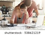 unhappy couple unable to pay... | Shutterstock . vector #538621219