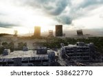 apocalypse city in fog. aerial...   Shutterstock . vector #538622770