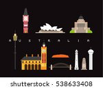 australia landmarks travel and... | Shutterstock .eps vector #538633408