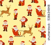 santa claus in different poses... | Shutterstock .eps vector #538634848