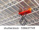 scissor lift platform with... | Shutterstock . vector #538637749