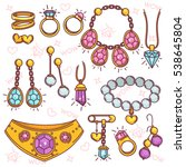 fashion jewelry vector set.... | Shutterstock .eps vector #538645804