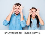 cheerful happy man and woman... | Shutterstock . vector #538648948