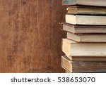 vintage books on wooden shelf. | Shutterstock . vector #538653070