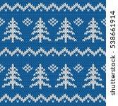winter seamless knitted blue... | Shutterstock . vector #538661914