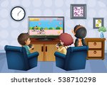 three kids playing game at home ... | Shutterstock .eps vector #538710298