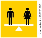man equal to woman on a scale...   Shutterstock .eps vector #538721236