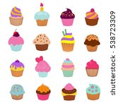 cupcakes illustration vector.... | Shutterstock .eps vector #538723309