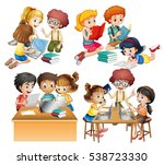groups of students reading and... | Shutterstock .eps vector #538723330