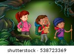 three people hiking in the... | Shutterstock .eps vector #538723369