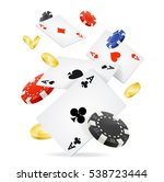 playing cards  gold coins and... | Shutterstock .eps vector #538723444