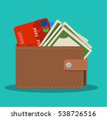wallet with card and cash.... | Shutterstock .eps vector #538726516