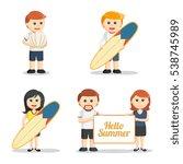 beach people set illustration... | Shutterstock . vector #538745989