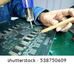 a man remove part electronic ... | Shutterstock . vector #538750609