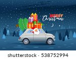 happy santa claus driving retro ... | Shutterstock .eps vector #538752994