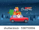 happy santa claus driving retro ... | Shutterstock .eps vector #538753006