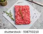 Minced Meat On Paper With...