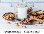 vegan milk from nuts in glass...   Shutterstock . vector #538756450
