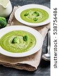 broccoli cream soup in white...   Shutterstock . vector #538756486