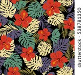 tropical plants pattern | Shutterstock .eps vector #538781350