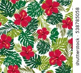 hibiscus flower pattern | Shutterstock .eps vector #538785058