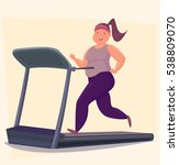 overweight girl running on... | Shutterstock .eps vector #538809070