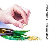 medicine herb. herbal pills in... | Shutterstock . vector #538825060
