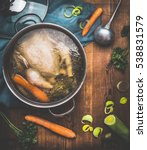 Chicken Soup Cooking  Pot With...