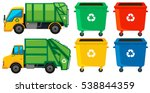 rubbish truck and cans in four... | Shutterstock .eps vector #538844359