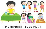 children eating healthy and... | Shutterstock .eps vector #538844374