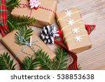 christmas presents on wooden... | Shutterstock . vector #538853638