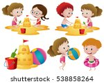 children playing sand on the... | Shutterstock .eps vector #538858264