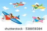 scene with four pilots flying... | Shutterstock .eps vector #538858384
