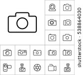 thin line camera icon on white...