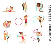 little girls doing gymnastics... | Shutterstock .eps vector #538876810