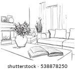 modern interior room sketch. | Shutterstock .eps vector #538878250