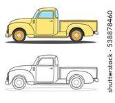 pick up truck. vector doodle... | Shutterstock .eps vector #538878460