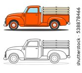 pick up truck. vector doodle... | Shutterstock .eps vector #538878466
