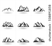 set of hand drawn mountains...   Shutterstock . vector #538891858