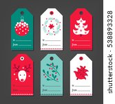 set of christmas gift tags with ... | Shutterstock .eps vector #538893328